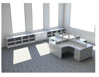Picture of Cluster of 4 Person L Shape Desk Station with Storage Credenza