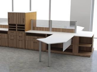 Picture of 4 Person L Shape Office Desk Workstation with Bookcase Filing Storage