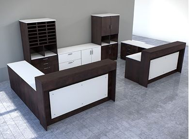 Picture of 2 Person L Shape Reception Desk Workstation with Bookcase Credenza Storage