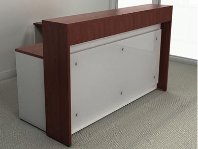 "Picture of 72"" L Shape Reception Desk Workstation with Acrylic Panel"