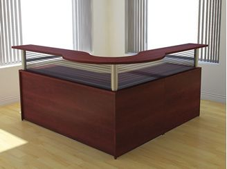"Picture of 72"" L Shape Reception Desk Workstation with Glazed Panel"