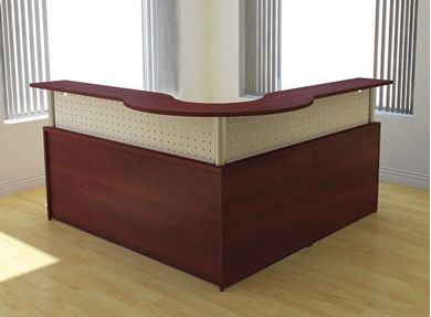 "Picture of 72"" L Shape Reception Office Desk Workstation with Panel Insert"
