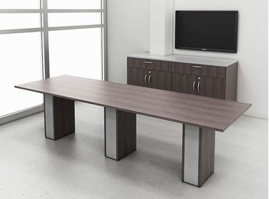 "Picture of 48"" x 120"" Conference Table with Storage Credenza"