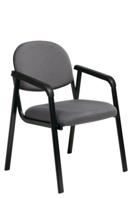 Picture of  Visitor Chair with Designer Plastic Shell Back, Black Steel Frame and Legs with Arms