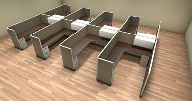 Picture of Cluster of 8 Person L Shape 6' x 8' Cubicle Desk Workstation