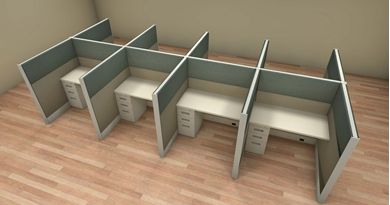 Picture of Cluster of 8 Person 4' x 4' Cubicle Desk Workstation