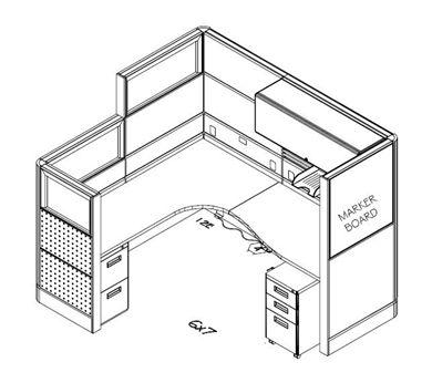 Picture of 6' x 7' L Shape Office Desk Cubicle Workstation