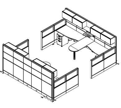 Picture of 4 Person L Shape Office Cubicle Desk Workstation