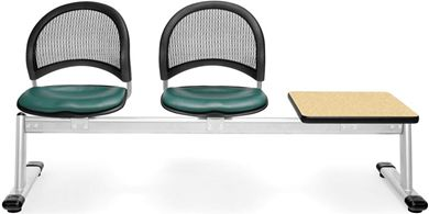 Picture of Moon 3-Unit Beam Seating with 2 Vinyl Seats & 1 Table
