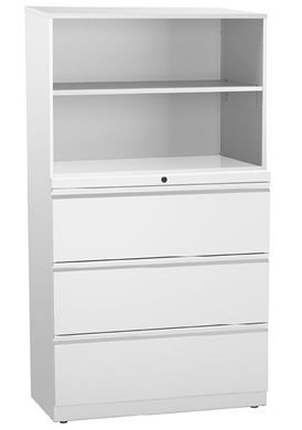 "Picture of Trace Metal 30""W Combo Lateral File and Storage Cabinet with Drawers and Open Shelves"