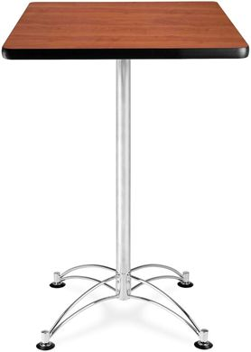 Picture of 24'' Square Chrome Base Cafe Table - Cherry