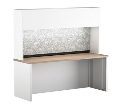 "Picture of 24"" x 66"" Metal Desk Shell with Full Modesty with Closed Overhead Storage"