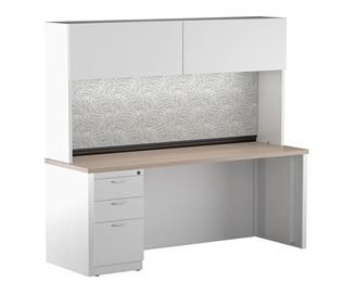 "Picture of 24"" x 36"" Metal Desk Shell with Full Modesty with Closed Overhead Storage and Filing Pedesal"