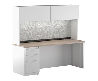 "Picture of 24"" x 60"" Metal Desk Shell with Full Modesty with Closed Overhead Storage and Filing Pedesal"