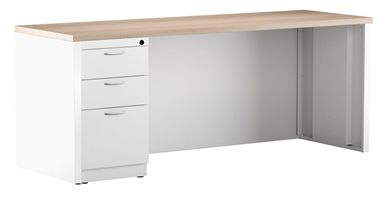 "Picture of 24"" x 60"" Metal Desk Shell with Full Modesty with Filing Pedesal"