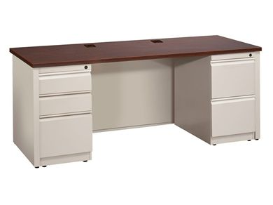 """Picture of 24"""" X 72"""" Metal Office Desk with 2 Locking Filing Pedestals"""