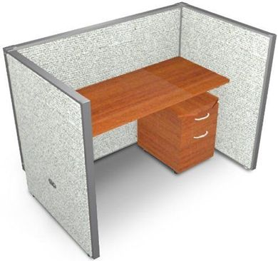 """Picture of 60"""" Straight Cubicle Desk Workstation"""