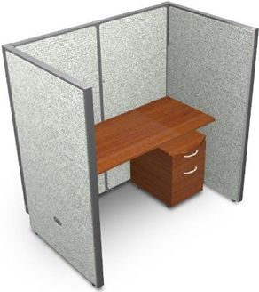 "Picture of 60"" Straight Cubicle Desk Workstation"