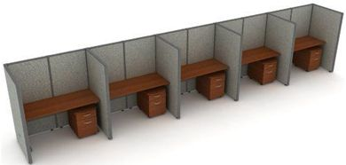 "Picture of Cluster of 5 Cubicle 60"" Straight Desk Workstation"