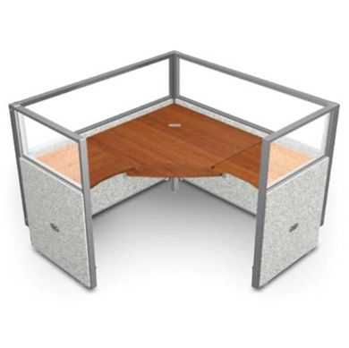 "Picture of Single 60"" L Shape Cubicle Desk Workstation with Glass Header."