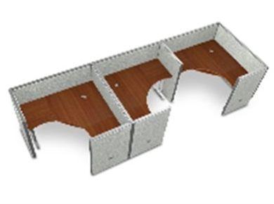 "Picture of Cluster Of  3  60""  L Shape Cubicle Desk Workstation ."
