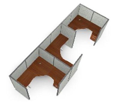 "Picture of Cluster Of  3  72""  L Shape Cubicle Desk Workstation ."