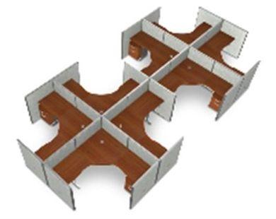 "Picture of Cluster Of 8 72"" L Shape Cubicle Desk Workstation."