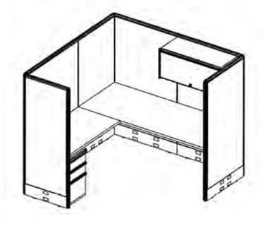 "Picture of 72"" x 72"" L Shape Office Cubicle Desk Workstation with Filing and Overhead Storage"