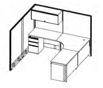 Picture of 7' x 7' L Shape Corner Curve Office Cubicle Workstation with Filing Storage