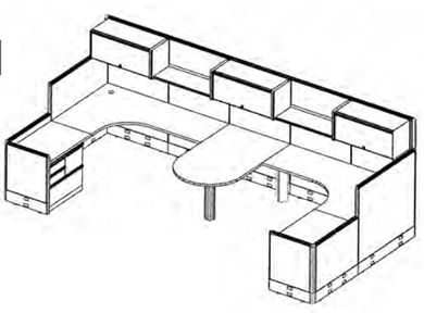 Picture of 2 Person U Shape Shared Cubicle Desk Workstation with Multi Filing and Overhead Storage