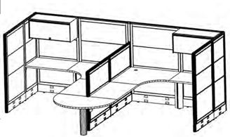 Picture of 2 Person L Shape Cubicle Office Desk Workstation with Ovehead Storage and Optional Filing