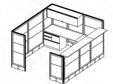 Picture of L Shape Private Reception Desk Cubicle Workstation with Overhead Storage and Multi Filing