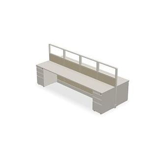 Picture of 4 Person Bench Seating Shared Cubicle Desk Workstation with Filing