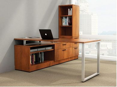 Picture of Contemporary L Shape Office Desk Workstation with Filing and Open Bookcase