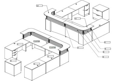 Picture of U Shape Reception Desk Workstation with Lateral File Storage