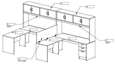 """Picture of 2 Person L Shape 72"""" x 72"""" Office Desk Workstation with Overhead Storage and Filing"""