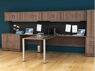 "Picture of 2 Person Shared L Shape 72"" Desk Workstation with Lateral Filing and Overhead Storage"