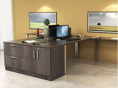 Picture of 2 Person Shared L Shape Office Desk Workstation with Lateral Filing and Storage