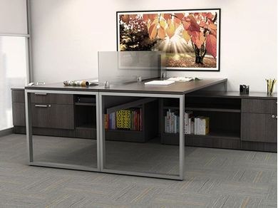 "Picture of 2 Person 72"" L Shape Office Desk Workstation with Lateral Filing"