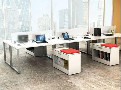 Picture of 6 Person Shared Bench Seating Teaming Workstation with Lateral Storage