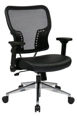 Picture of AirGrid® Back and Padded Eco Leather Seat with 4-Way Adjustable Flip-Arms