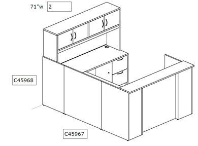 Picture of Custom Size U Shape Reception Desk Workstation with Overhead Storage