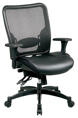 Picture of Breathable Mesh Back Chair with Layered Leather Seat Ergonomic Chair