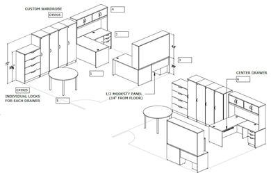 Picture of Space Planning, 2 Person L Shape Desk Station with Meeting Table, Lateral File and Wardrobe Lockers