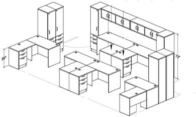 Picture of Space Planning, 6 Person L Shape Office Desk Workstation with Overhead and Single Door Storage