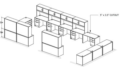 Picture of Space Planning, 12 Person Office Desk Workstation with Overhead Storage