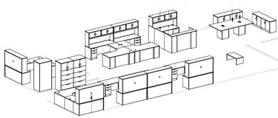 Picture of Space Planning, 8 Person U Shape Office Desk Workstation with U Shape Reception and Power Conference Center