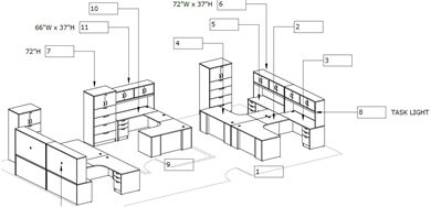Picture of Space Planning, 5 Person U Shape Office Desk Workstation with Overhead and Lateral Files Storage
