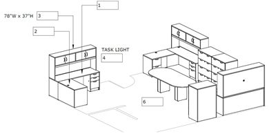 Picture of Space Planning, 3 Person L Shape Office Desk Workstation with Racetrack Conference Table and Lateral Files