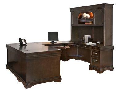 "Picture of 72"" U Shape Veneer Office Desk Workstation with Overhead"